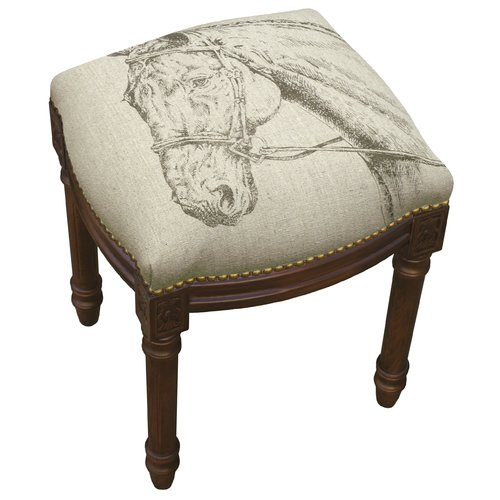 123 Creations Equestrain Horse Linen Upholstered Wooden