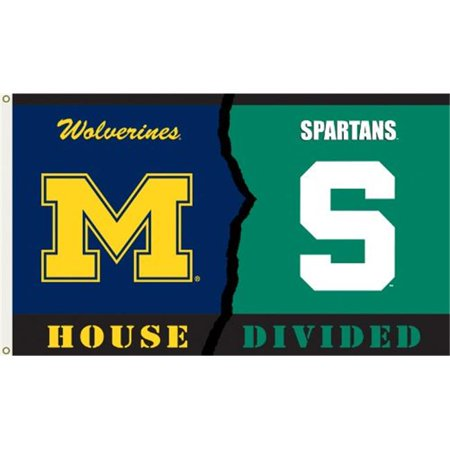 Bsi Products  Michigan - Michigan St. - 3 x 5 ft. Flag With Grommets - Rivalry House Divided