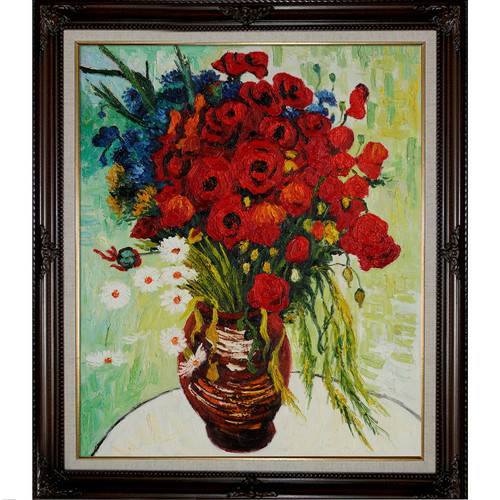 Wildon Home  Vase with Daisies and Poppies by Vincent Van Gogh Framed Original Painting