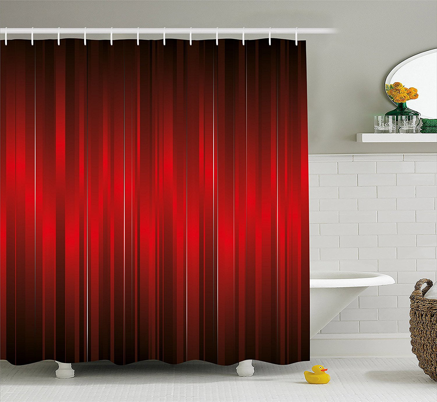 Maroon Shower Curtain By Vibrant Design Of Vertical Color Bands Stripes Vintage Dramatic Pattern Vignette Fabric Bathroom Decor Set With Hooks 84 Inches Extra Long Maroon Black By Ambesonne Walmart Canada