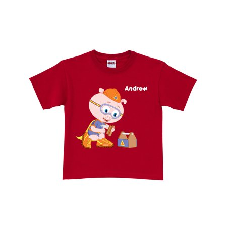 Alpha Pig (Personalized Super Why! Alpha Pig Toddler Boy T-Shirt, Red )