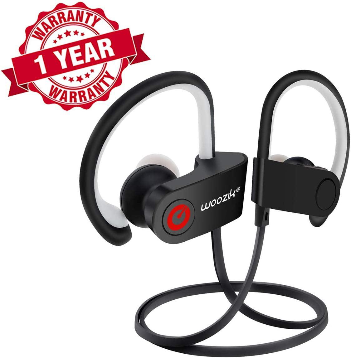Woozik Wireless Earbuds Bluetooth Sport Headphones Ipx4 Waterproof Headset With Microphone Earhook Earphones Volume Control Black Walmart Com Walmart Com