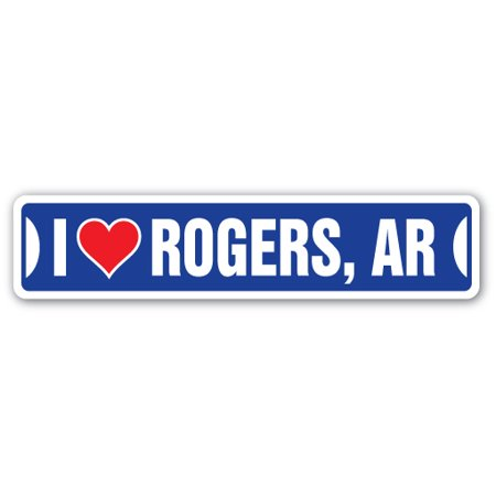 I LOVE ROGERS, ARKANSAS Street Sign ar city state us wall road décor gift for $<!---->