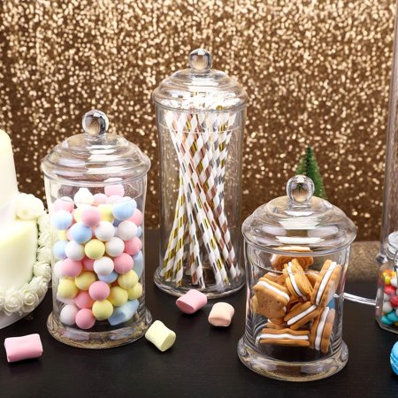 Efavormart 3 Pack | Clear Glass Apothecary Jars Candy Buffet Containers with Lids For Wedding Party Favor Decor -  7