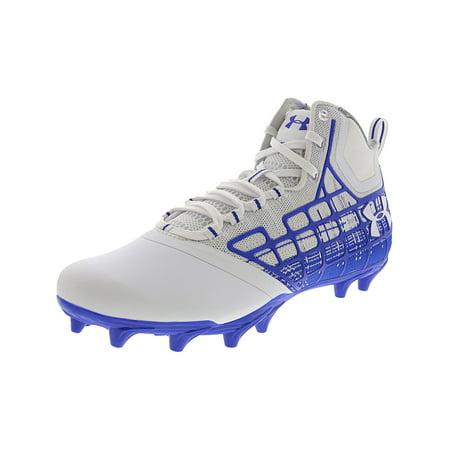 Under Armour Men's Banshee Mid Mc White / True Blue Mid-Top Lacross Shoe - (Best Mens Lacrosse Cleats)