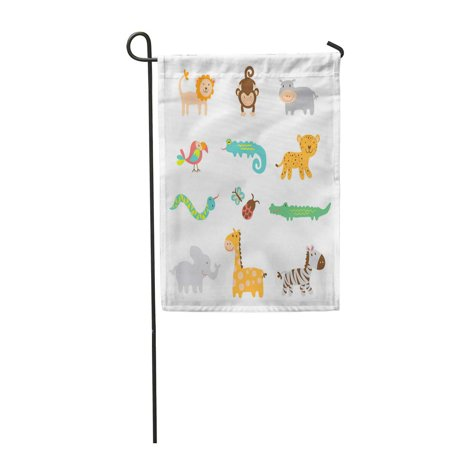 SIDONKU Baby Safari Clipart Alligator Beetle Bird Bug Butterfly Garden Flag Decorative Flag House Banner 12x18 inch