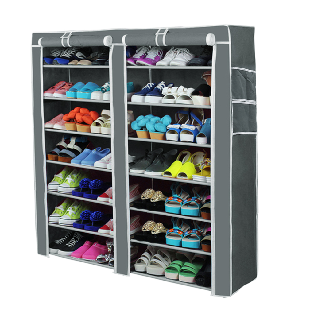 7 Layer 2 Rows Non-Woven Fabric Shoe Shelf Rack Storage Closet Organizer Cabinet With Cover