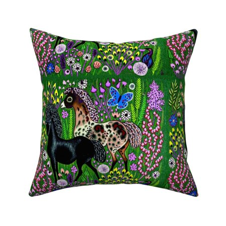 Folk Art Tribal Horses Pony Throw Pillow Cover w Optional Insert by Roostery
