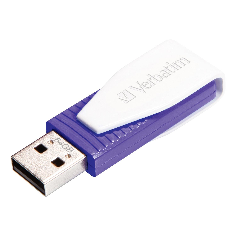 Verbatim 64GB Swivel USB Flash Drive - Violet