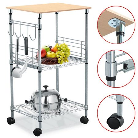 Yaheetech 3 Tier Microwave Steel Wire Rolling Kitchen Cart 21 By 15 By 36 Inch Chrome