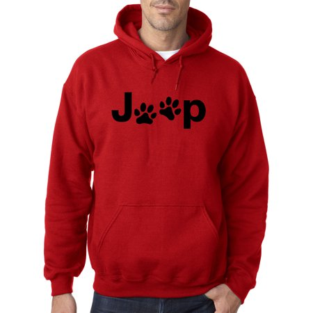 Jeep Wrangler Sweatshirts (Trendy USA 1172 - Adult Hoodie Jeep Dog Paws Logo Sweatshirt 4XL Red )