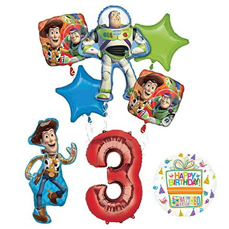 Mayflower Products Toy Story Party Supplies Woody, Buzz Lightyear and Friends 3rd Birthday Balloon Bouquet Decorations - Woody Party Decorations