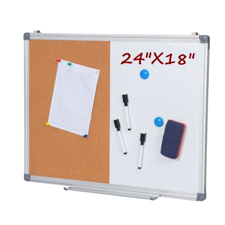 24 x 18 Inch Dry Erase and Cork Bulletin Board Set Half Corkboard Whiteboard