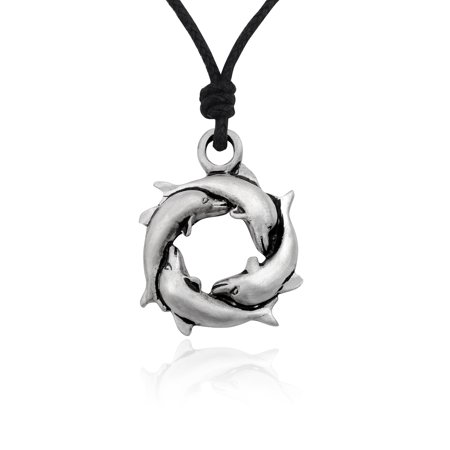 - New Dolphin Circle Of Life Silver Pewter Charm Necklace Pendant Jewelry With Cotton Cord