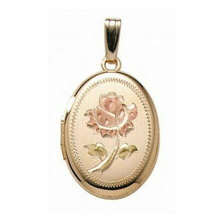 14K Gold Filled Rose Oval Locket - 3/4 Inch X 1 Inch