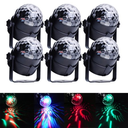 Ktaxon 6-Pack  LED RGB DJ Club Disco Party Magic Ball Crystal Effect Light Stage Lighting 3W Colorful