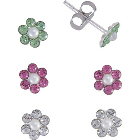 Girls' Pink, Clear and Green Crystal Sterling Silver Flower Stud Earrings Set