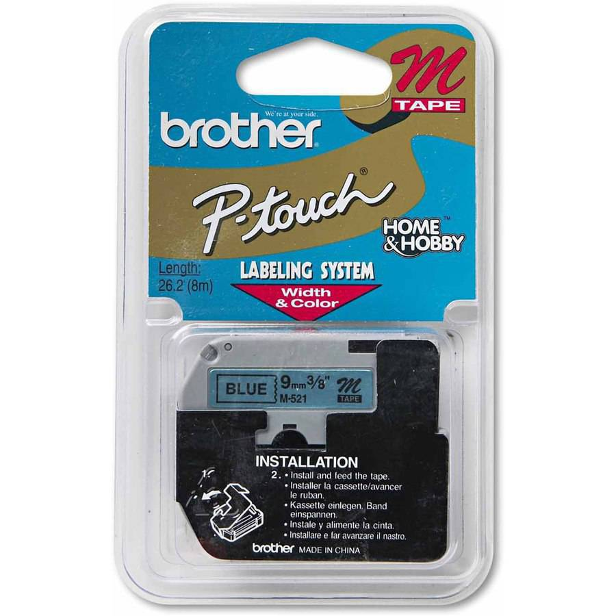"Brother P-Touch M Series Tape Cartridge for P-Touch Labelers, 3/8"", Black on Blue"