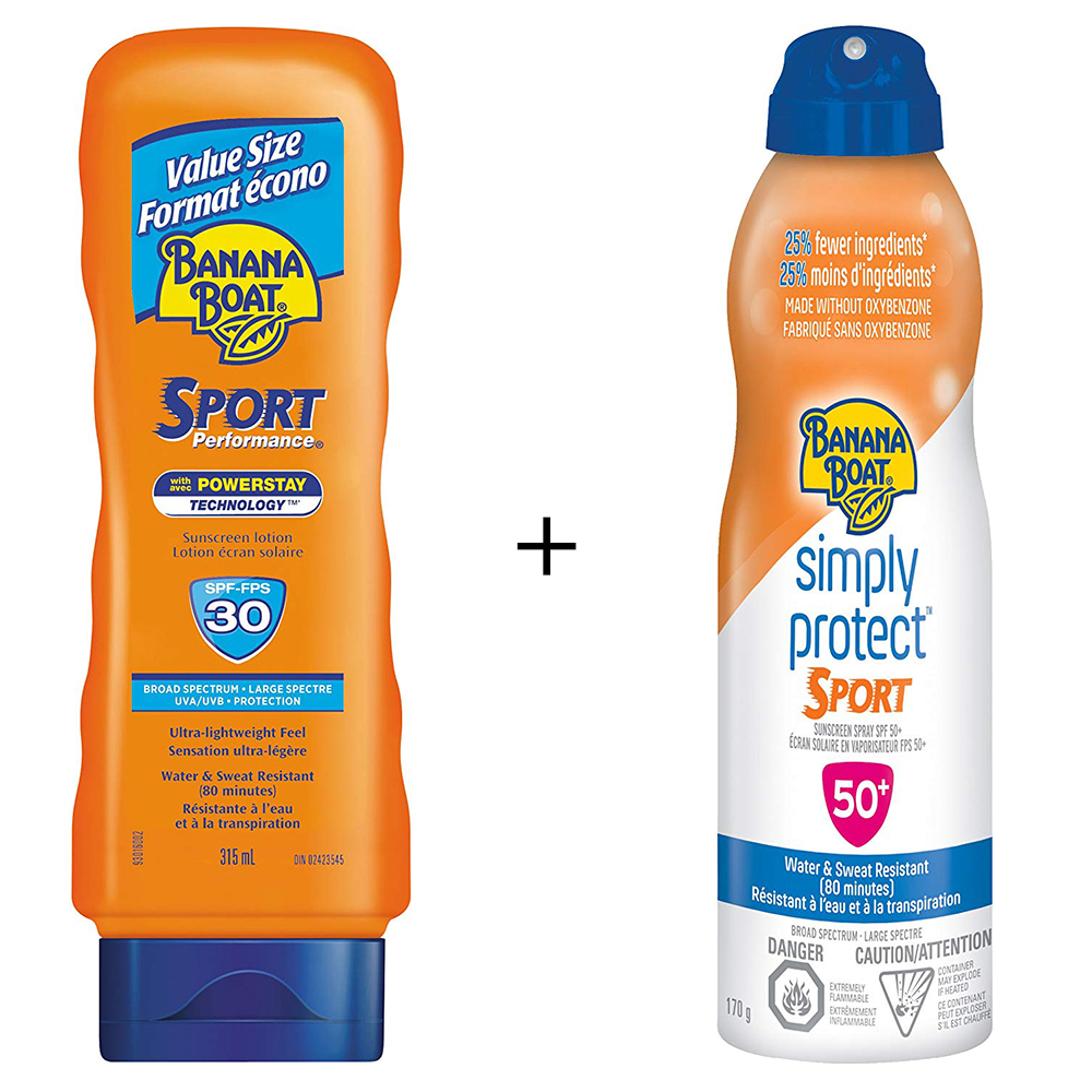 Banana Boat Sport Performance Ultra-Lightweight Sunscreen Lotion, SPF 30, Value Size (315mL) + Banana Boat Simply Protect Sport Sunscreen Spray, Made without Oxybenzone, SPF 50+ - image 1 de 1