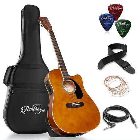 Ashthorpe Full-Size Cutaway Thinline Acoustic-Electric Guitar Package - Premium
