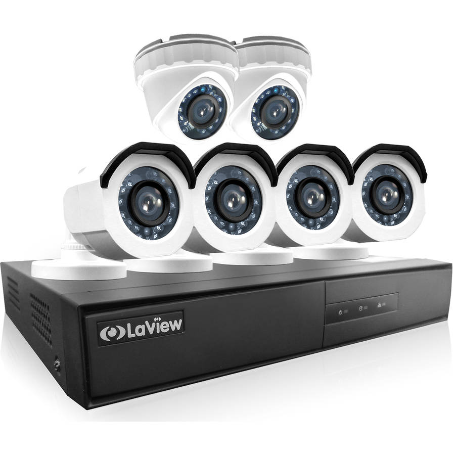LaView 6-Camera 8-Channel High-Definition DVR Security System with 4 x 720p HD Bullet Surveillance Cameras, 2 x 720p HD Turret Surveillance Cameras, 1TB Hard Drive and Remote View