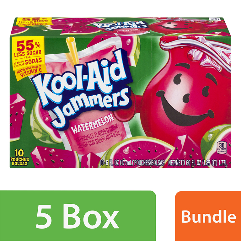 (5 Pack) Kool-Aid Jammers Watermelon Ready-to-Drink Soft Drink, 10 - 6 fl oz Packets