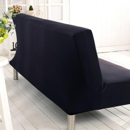 TKOOFN Folding Microfiber Futon Couch Sofa Cover Slipcover 71-83 inch Black
