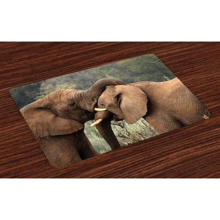 - Safari Placemats Set of 4 Two Wild Savannah Elephants Wrestling Cute Nature Icons South African Animals Photo, Washable Fabric Place Mats for Dining Room Kitchen Table Decor,Brown Green, by Ambesonne