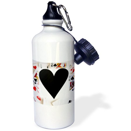 3dRose A Black Heart On Deck Of Cards, Sports Water Bottle, 21oz (Bottle Cap Deck)