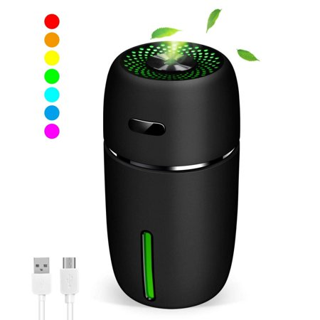 Portable USB Humidifier with 7 LED Warm Lights, Mini Personal Small Humidifier for Desk Travel Office Car and Bedroom with Quiet Operation, Auto Shut-Off,