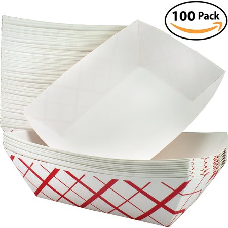 Hot Dog Holders (Heavy Duty, Grease Resistant 3 Lb Paper Food Trays 100 Pack. Durable, Coated Paperboard Basket Ideal for Festival, Carnival and Concession Stand Treats Like Hot Dogs, Ice Cream, Popcorn and)