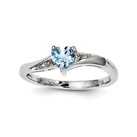 007 Swiss (Sterling Silver Light Swiss Blue Topaz and Diamond Ring - .007 dwt .56 cwt - Size 6 )