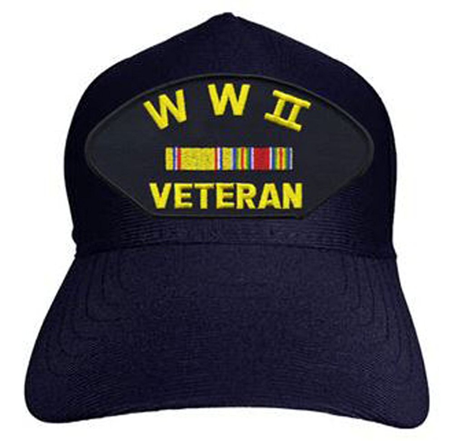 World War II Veteran with Ribbons Baseball Cap. Navy Blue...