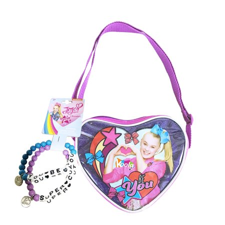 JoJo Siwa PURSE Crossbody Shoulder Bag PINK Heart Shape w/Blue Purple (Ray Ban Ja Jo Pink)
