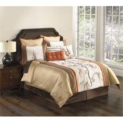 Brisbane 9 or 10 Piece Comforter Set in Ivory and Gold-10 Piece King