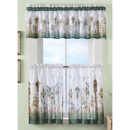 birdhouse cafe curtain set 58 x 24 by collections etc. Black Bedroom Furniture Sets. Home Design Ideas