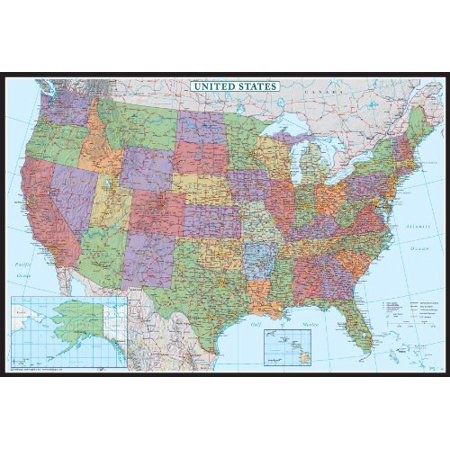 24X36 United States  Usa Us Decorator Wall Map Poster Mural Laminated
