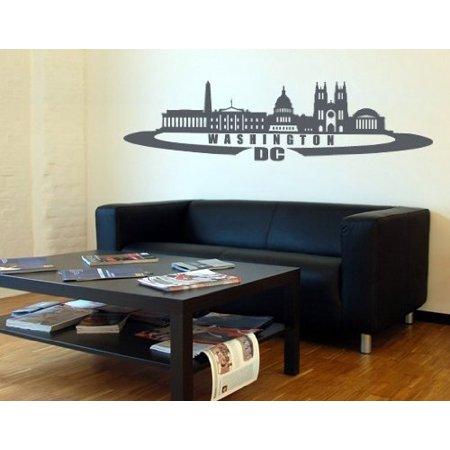 Washington D C City Skyline Wall Decal Sticker Vinyl Art Home Decor Mural 2399 31in X 9in Green