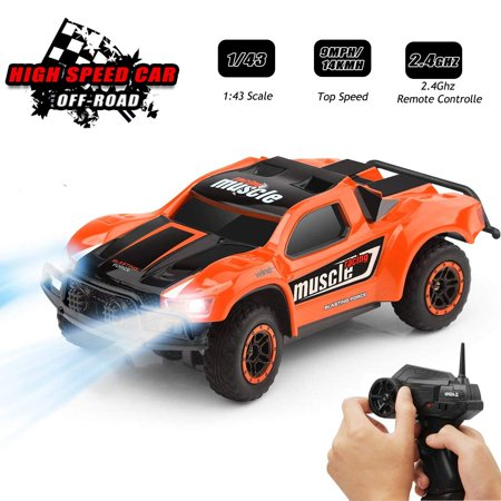 Toys for 6-12 Year Old Boys Byserten Remote Control Car RC Cars with LED Lights High Speed Racing 2. 4 GHz Wrieless Controlled 1:43 Scale Off-Road Vehicle RC Trucks Best Gift for Kids Orange