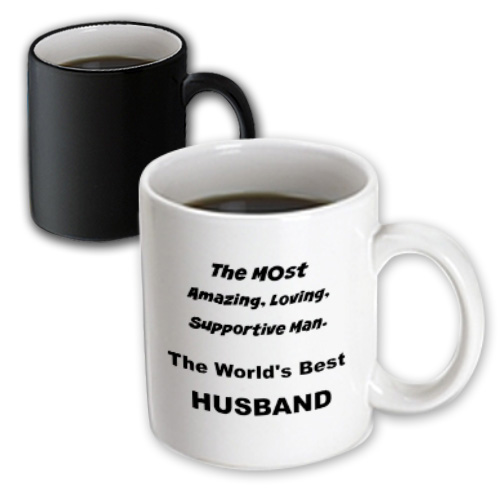 3dRose The most amazing, loving, supportive man the worlds best husband, Magic Transforming Mug, 11oz