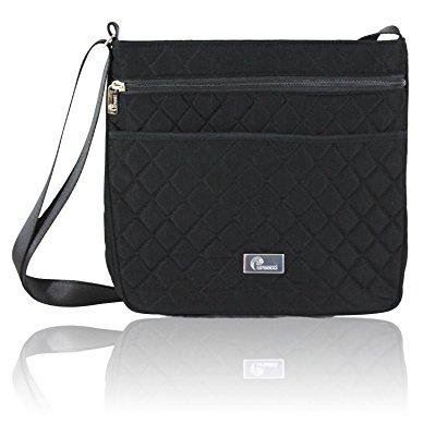 Large Quilted Purse Set (pursetti black quilted crossbody bag for women - keep your valuables securely stowed for travel, work or school or around town )