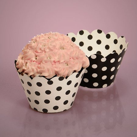 Black and White Cupcake Wrappers with Polka Dots | Quantity: 50 | Diameter - 2