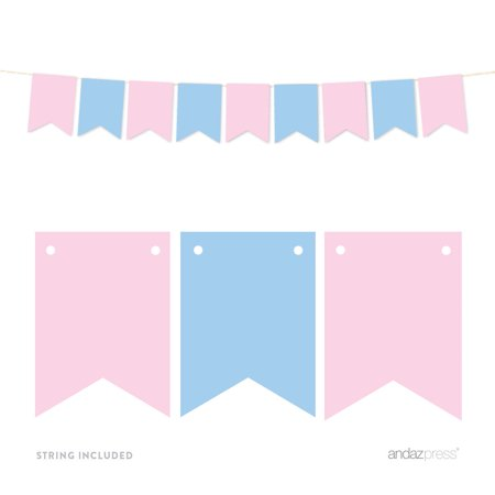 Signature Pink and Blue Gender Reveal Baby Shower, Hanging Pennant Banner, Blank Pennants
