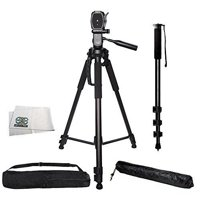 """Professional 72-inch Tripod 3-way Panhead Tilt Motion with Built In Bubble Level & 72"""" Monopod with Quick Release for Canon Rebel EOS-M SL1 T1i T2i T3 T3i T4i T5 T5i T6i T6s XSI XS XTI EOS60D"""