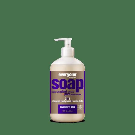 Everyone Lavender & Aloe 3-in-1 Soap Moisturizing Shampoo Body Wash & Bubble Bath 16 Oz