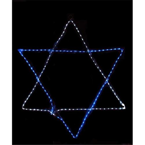 NorthLight 36 inch Blue And White LED Rope Light Star Of David Hanging Hanukkah Decoration