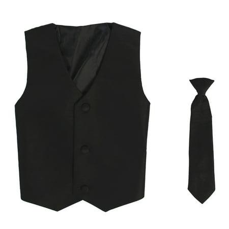 (Little Boys Black Poly Silk Vest Necktie Special Occasion Set 4/5)