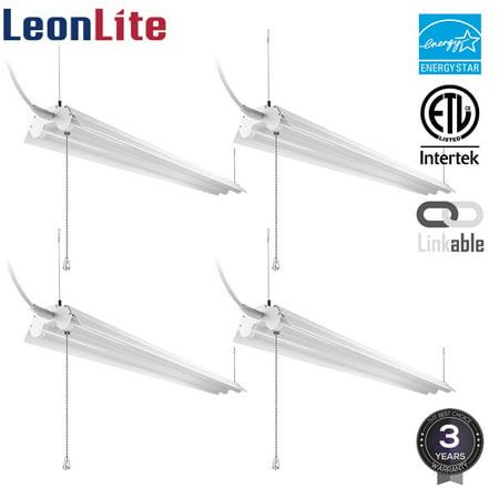LeonLite 4 Pack 40W 4ft Linkable LED Shop Lights, 5000K Daylight (Shop Light)