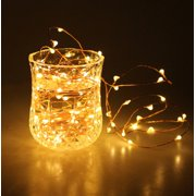 Unido Box 20 Pack Mini Fairy String Lights, 20 LED, Warm White Battery 7' ft/2m Battery Copper Wire Waterproof