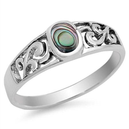 CHOOSE YOUR COLOR Simulated Abalone Flower Cutout Ring New .925 Sterling Silver Band (Simulated Abalone/Ring Size 9)